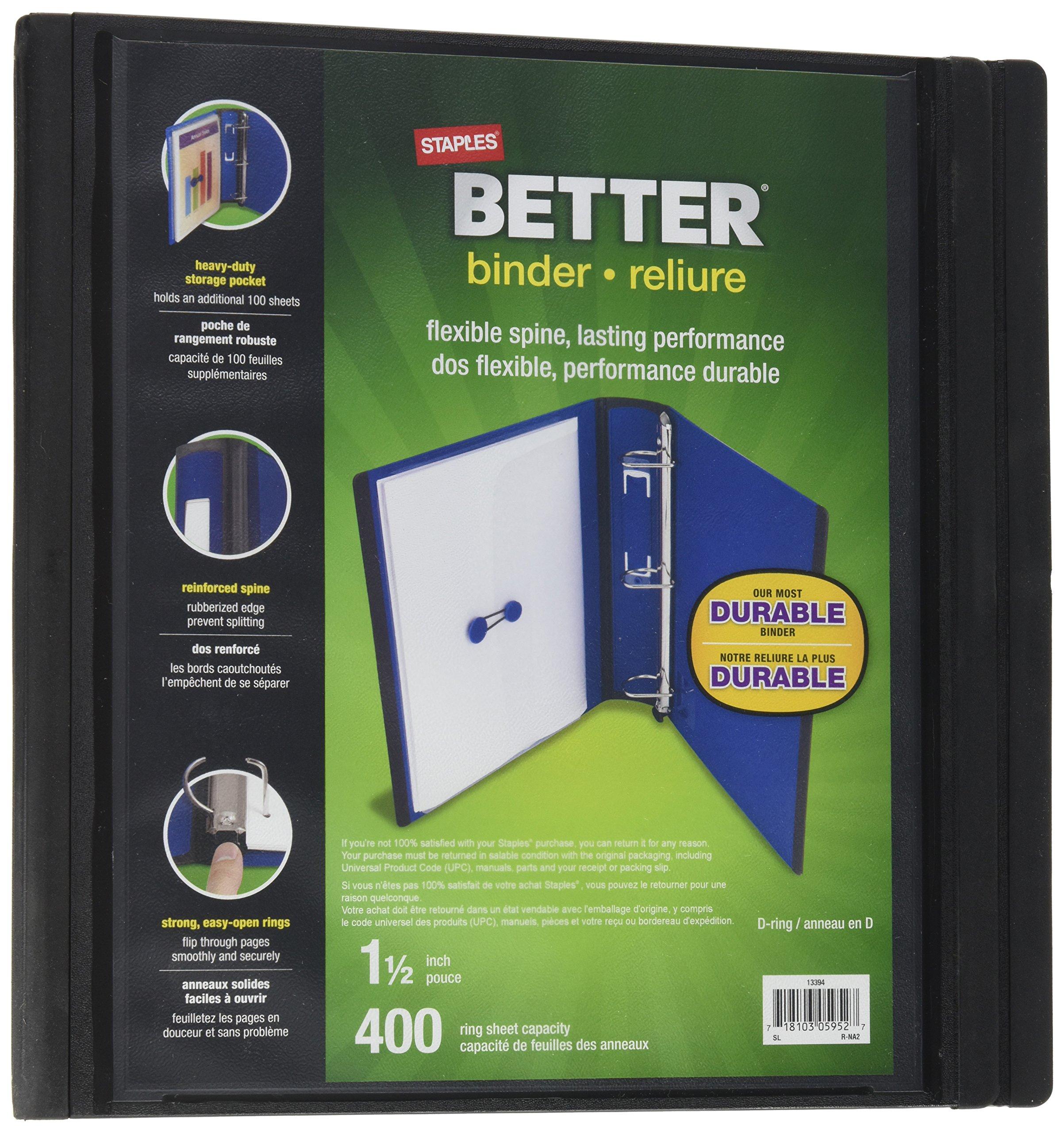 Staples Better Binder 1.5 inch BLACK