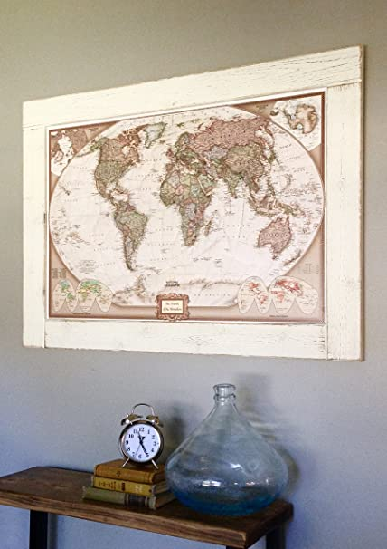 Amazoncom Push Pin Travel Map With Solid Wood CUSTOM Frame Framed - White framed world map