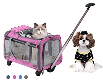 347658c63c MOVEPEAK Folding Pets Carrier With Wheel, Luxury Pet Bag Strollers With  Comfortable Fleece Mat For