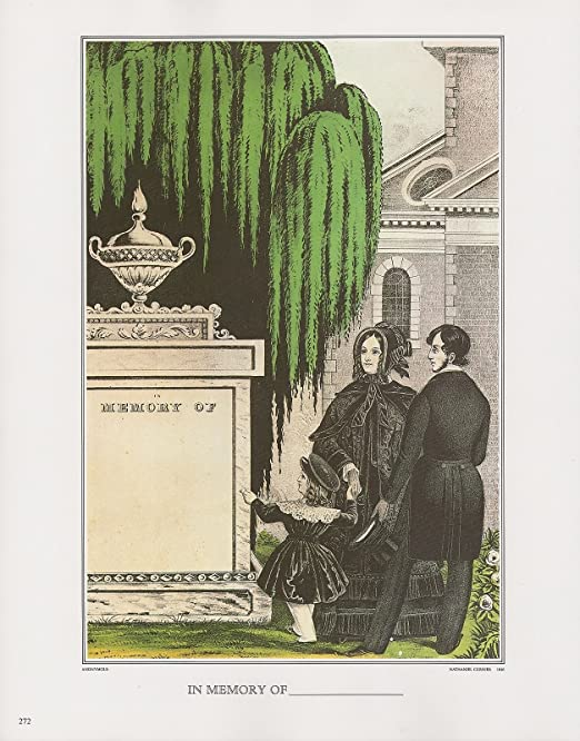 """1972 Vintage Currier /& Ives /""""IN MEMORY OF /_/"""" FOR MEMORIAM Color Print Lithograph"""