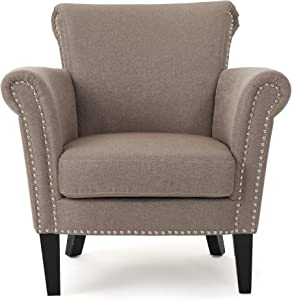Christopher Knight Home Brice Vintage Scroll Arm Studded Fabric Club Chair, Light Coffee / Dark Brown