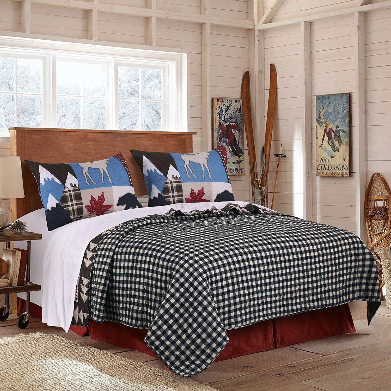 3pc Blue White Red Black Hunting Themed Quilt King Set, Black Bear Bedding Moose Plaid Log Cabin Pattern Lodge Leaf