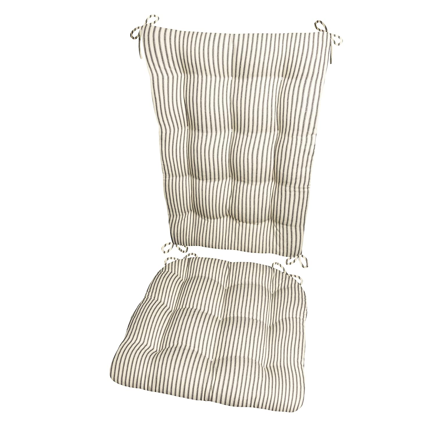 Barnett Products Ticking Stripe Black Rocking Chair Cushion Set - Standard - Seat Pad and Back Rest with ties- Reversible Latex Foam Fill - Made in USA ...  sc 1 st  Amazon.com & Amazon.com: Barnett Products Ticking Stripe Black Rocking Chair ...