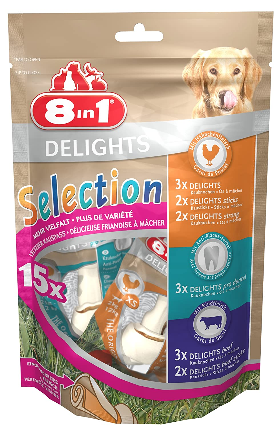 8 in 1 8in1Delights Selection OS à mâcher sains-Mix, taille XS, différentes Snacks pour petits, 15pièces (1x 248G) 8in1 111641