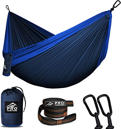 for Hiking and Backpacking Portable 118x73 Size with Tree Straps and Inflatable Pillow 2-Person Corvus Outdoors Double Camping Hammock Made of Rugged Nylon Plus Additional Storage Pockets