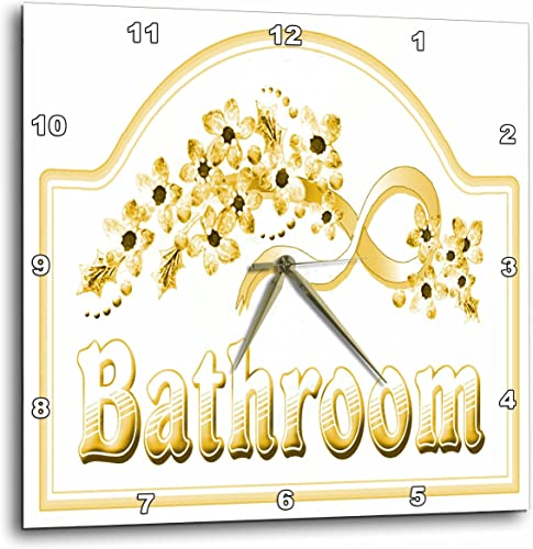 3dRose DPP_60566_2 Victorian Yellow Gold Bathroom Sign Wall Clock, 13 by 13-Inch