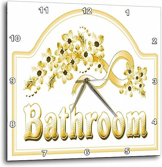 15 by 15-Inch 3dRose dpp/_60564/_3 Victorian Green Bathroom Sign-Wall Clock