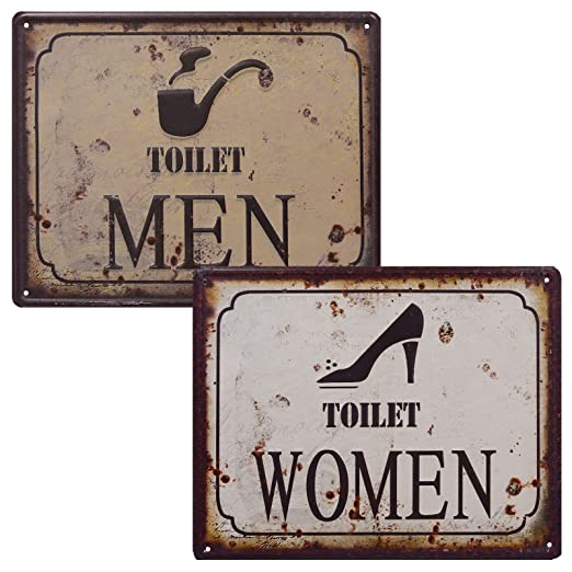 2 WC carteles Toilet Women & Toilet Men Retro Chapa 3d Baños Cartel