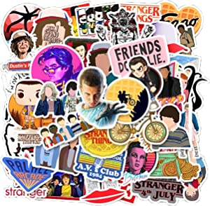 Stranger Things 50pcs Waterproof Vinyl Stickers Pack for for Laptop, Hydro Flask, Water Bottles, Phone, Ipad, Luggage. Aesthetic Decals for Teens, College Students. Extra Durable Vinyl