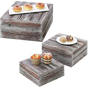 MyGift Torched Wood Plate Display Risers, Set of 3