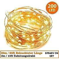 Guirlande Lumineuse 200 micro LED intérieur Lumières féeriques de Noël- 20 mètres de longueur allumée, 3 mètres de fil conducteur. Blanc chaud, câble de cuivre guirlande micro led