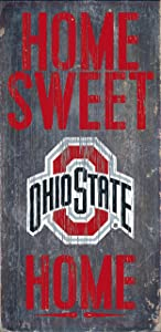 "Fan Creations Ohio State Buckeyes Wood Sign - Home Sweet Home 6""x12"""