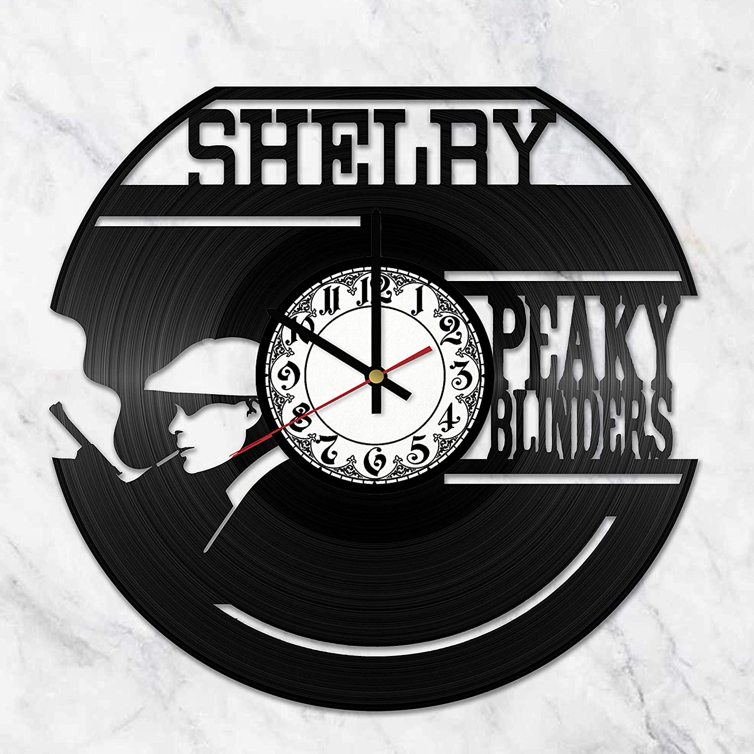 OlhaArtShop Peaky Blinders Vinyl Wall Clock, Crime Drama Vinyl Record Handmade Art Decor for Home Room Kitchen, Vintage Original Gift for Any Occasion, Party Supplies Decoration