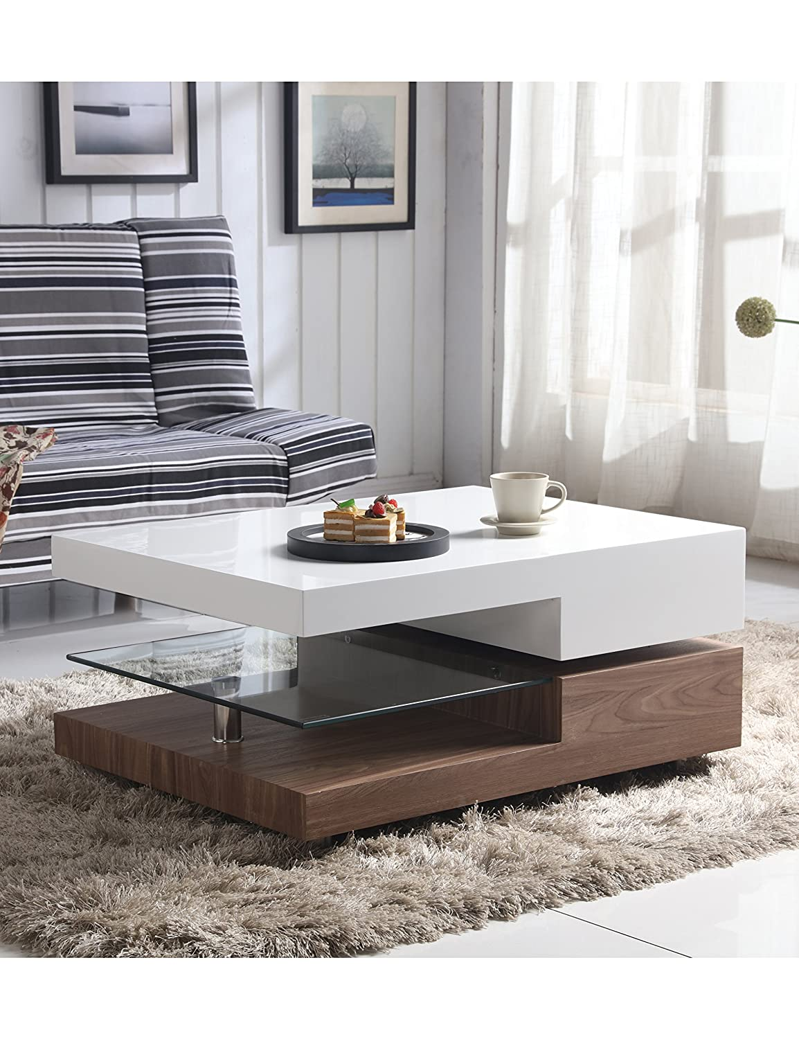 GOLDFAN Modern Coffee Table White High Gloss Swivel Living Room Furniture Ltd.