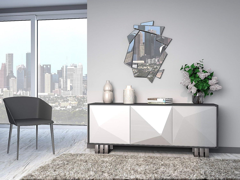 Lobby 90x70cm Specchi Decorativi Moderni di Pareti  Specchi Decorazione per Il Tuo Soggiorno Stanza da Letto Ingresso DekoArte E033 Specchi Sofisticati Grandi 3D Rectangulare Colore Argento