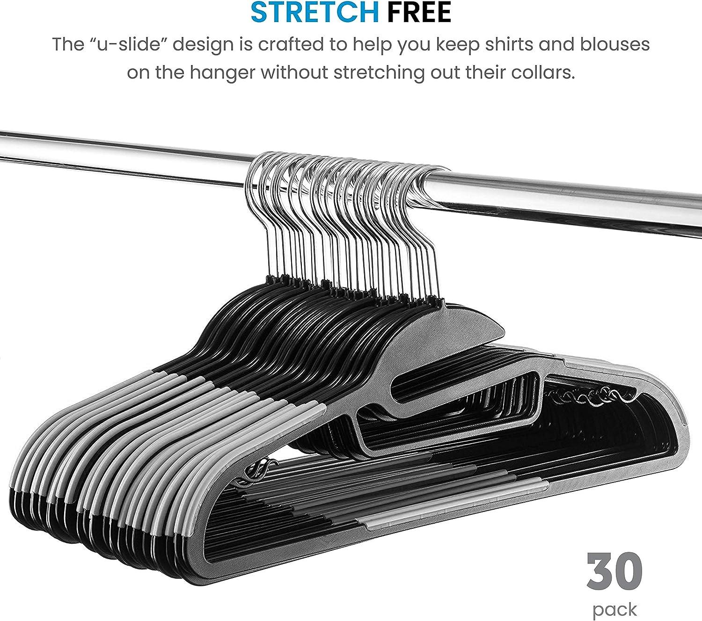 Heavy-Duty Plastic Clothes Hangers with Tie-Bar 30 Pack Hold Upto 4.5kg 360/° Hook Dress Plastic Suit Hangers for Pants Shirt ZOBER Non-Slip Coat Hangers Space Saving Coat Hanger Trousers