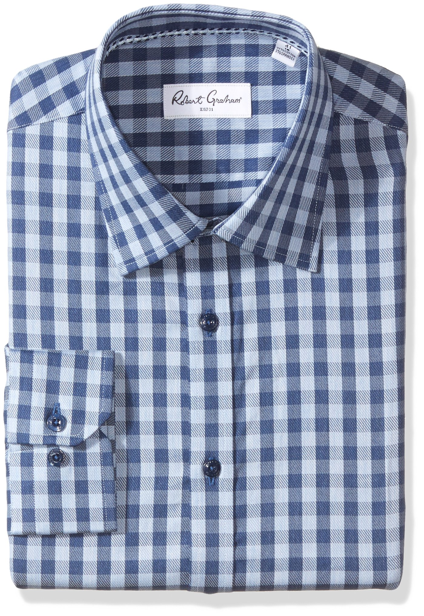 Robert Graham Men's Kade Regular Fit Check Dress Shirt, Blue, 18'' Neck 36.5'' Sleeve by Robert Graham