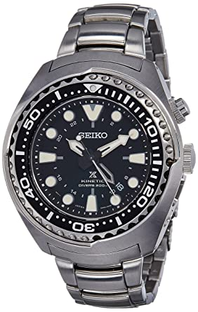 Amazon.com  Watch Seiko Prospex SUN019 Kinetic GMT Divers Man  Seiko ... 75d4c8e39b