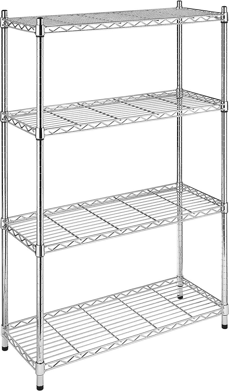 B0007MHD1K Whitmor Supreme 4 Tier Shelving with Adjustable Shelves and Leveling Feet - 350 lb. Capacity per Shelf - Chrome 91QXAe2BNDWL