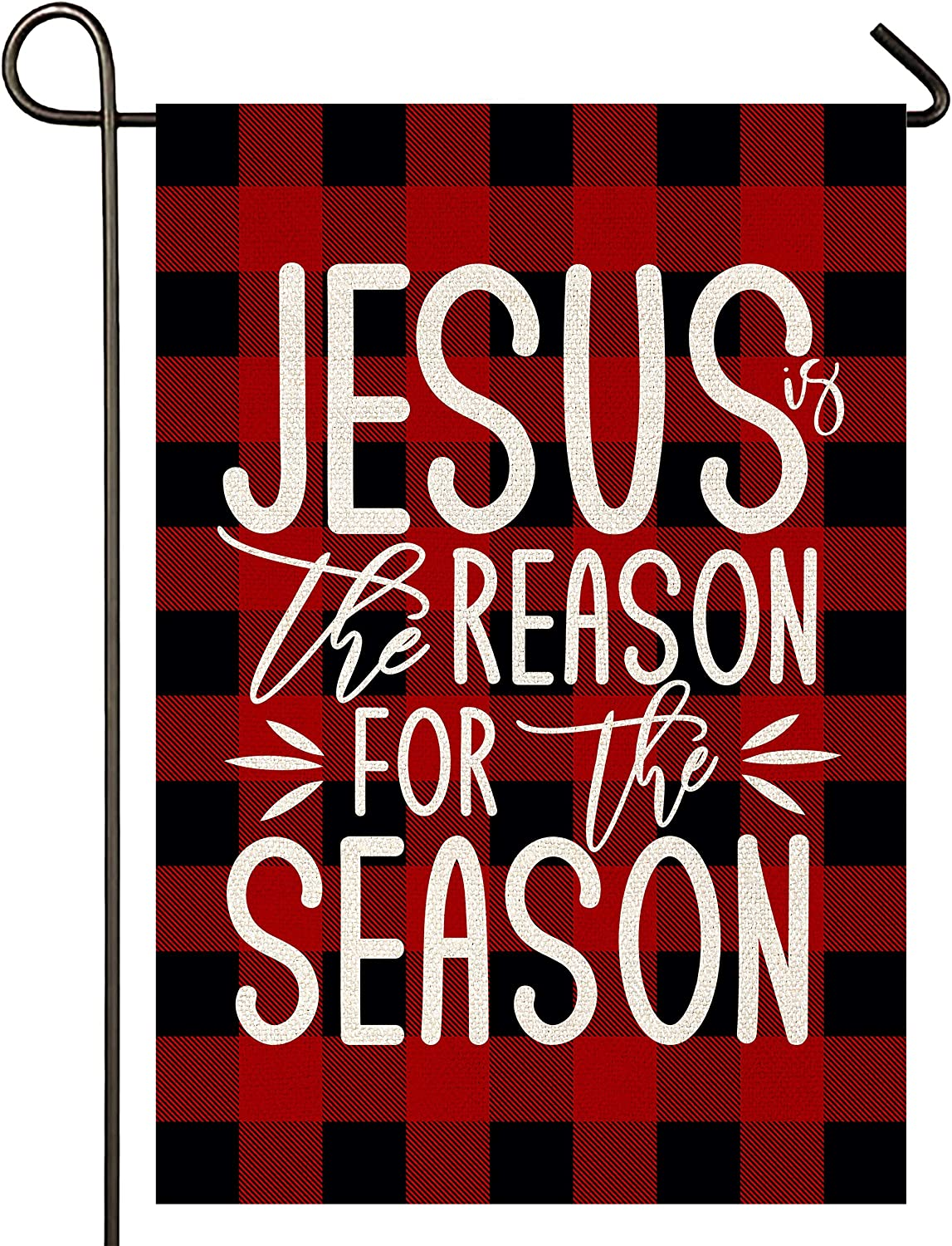 Atenia Jesus is The Reason Burlap Garden Flag, Double Sided Christmas Religion Garden Outdoor Yard Flags for Christmas Decor
