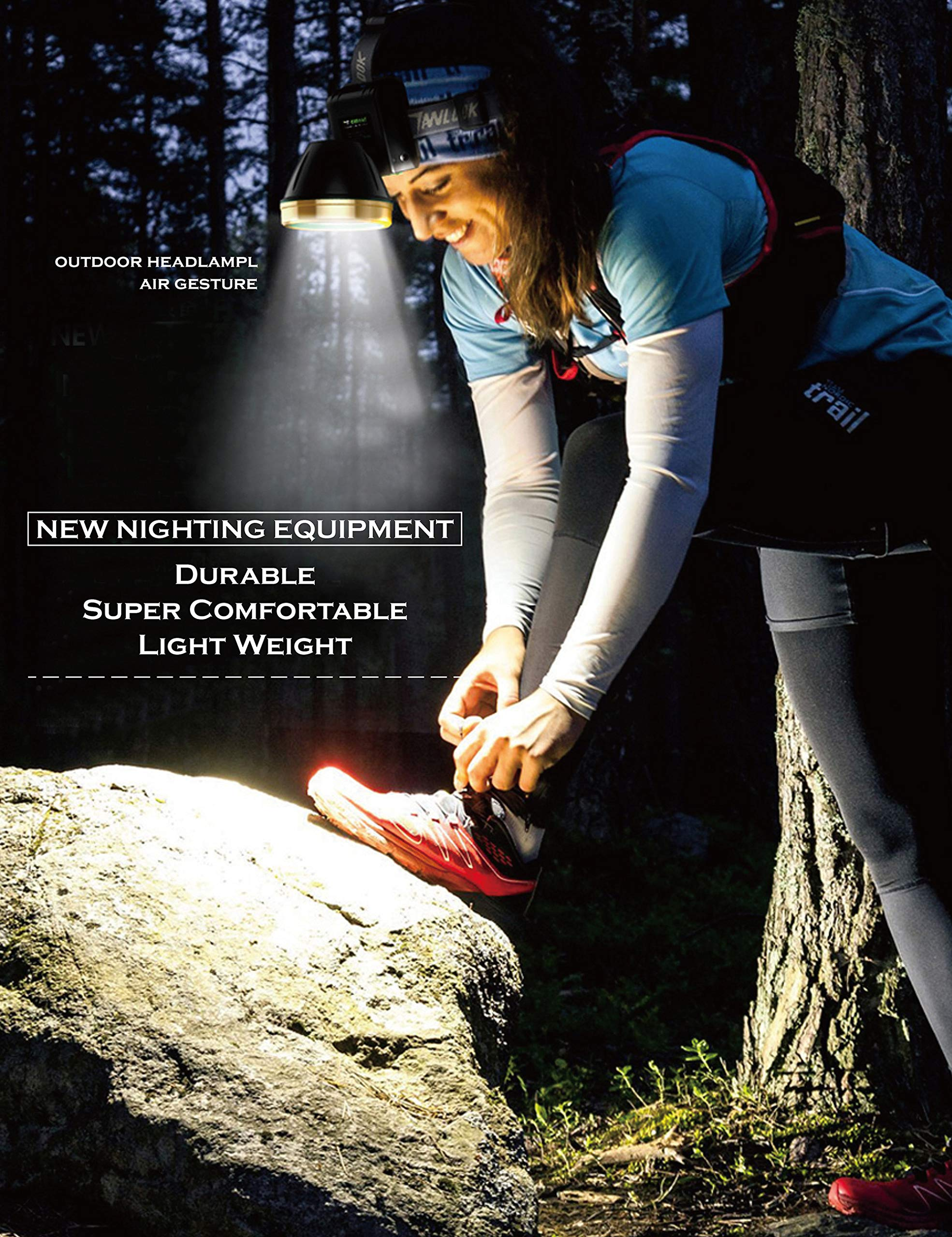 LED Headlamp, LED Headlamp USB Rechargeable, LED Headlamp Flashlight, Outdoor USB LED Headlamp, Waterproof with 2 Lighting Modes, Battery Powered Swivel LED Headlight for Camping and Hiking by Cavepop (Image #7)