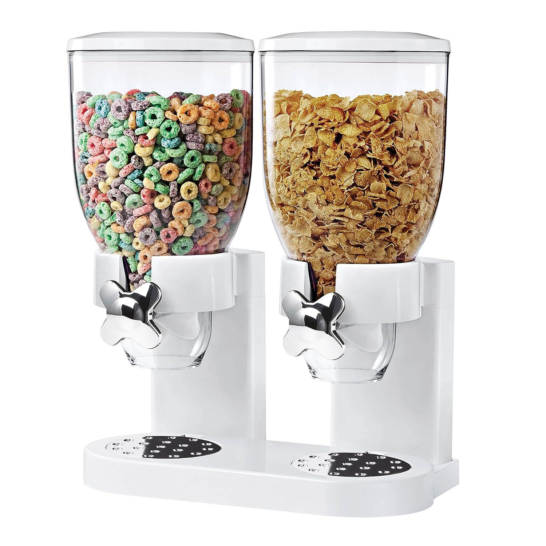 Zevro KCH-06123/GAT201C Indispensable Dry Food Dispenser, Dual Control, White/Chrome