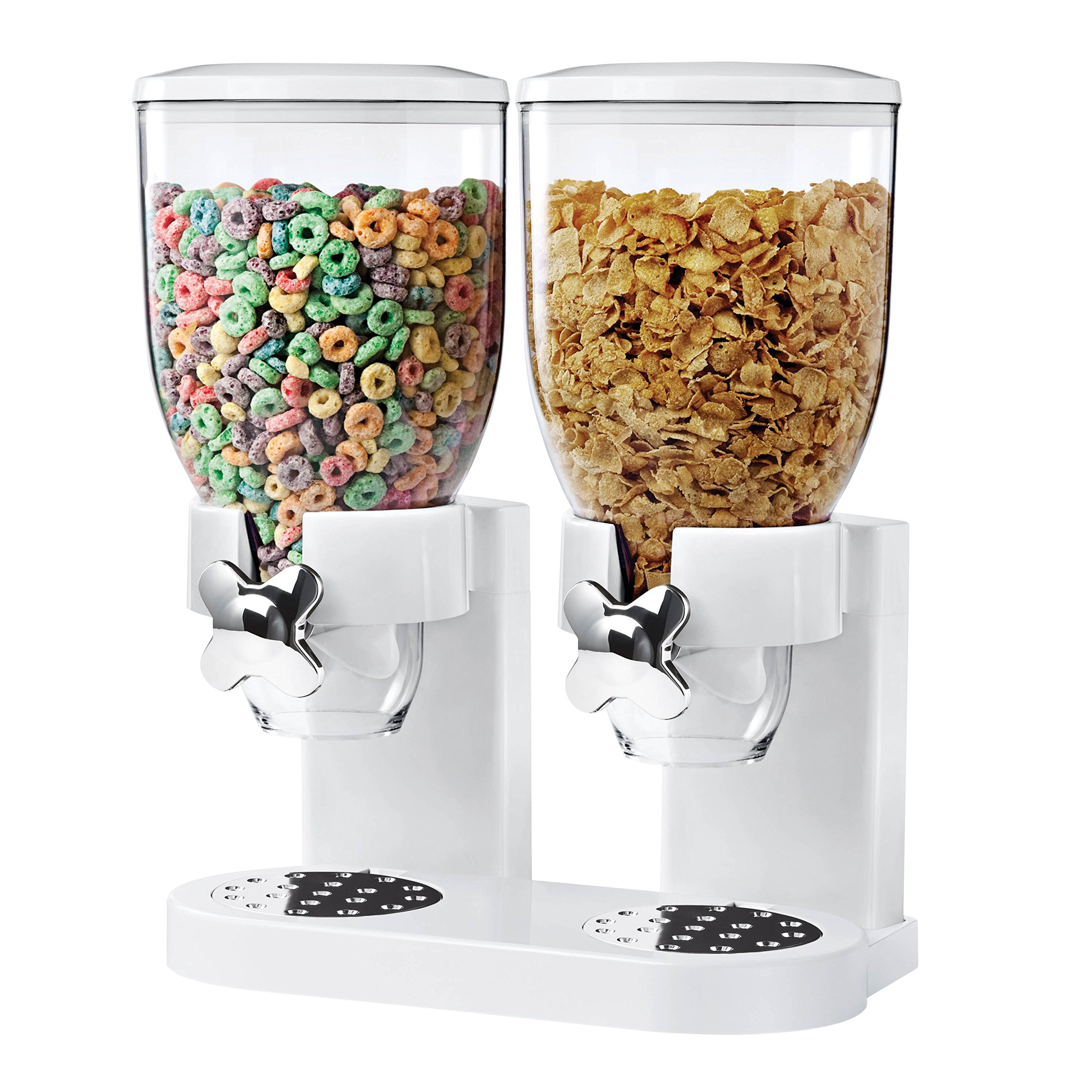 Zevro KCH-06123 Control Dual Dry Food Dispenser, White/Chrome