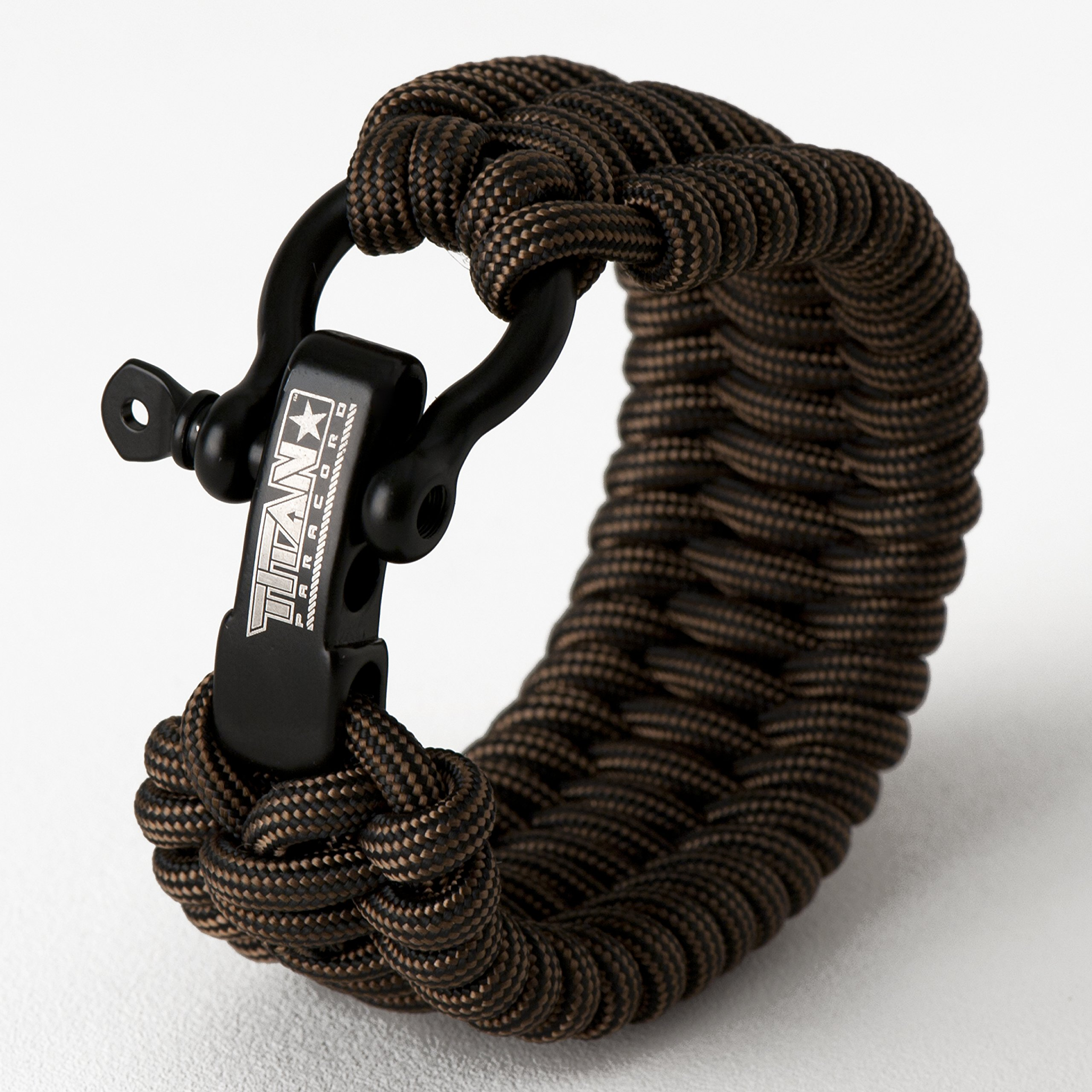 Titan Paracord Survival Bracelet | Bronze | Large (Fits 8'' - 9'' Wrist) | Made with Authentic Patented SurvivorCord (550 Paracord, Fishing line, Snare Wire, and Waxed Jute for Fires).