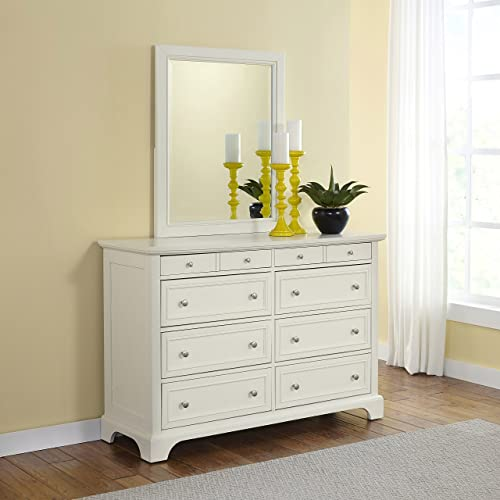 Home Styles Naples Eight-Drawer White Dresser and Mirror with Hardwood Solids, Six Large Drawers, Two Felt-Lined Drawers, Brushed Nickel Hardware, and Rectangular Framed Mirror