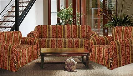3 Piece Set Burgundy/Brown Striped Sofa Loveseat Chair Slipcover