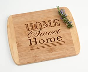 Home Sweet Home Engraved Wood Cutting Board Housewarming Gift on Two Tone Bamboo