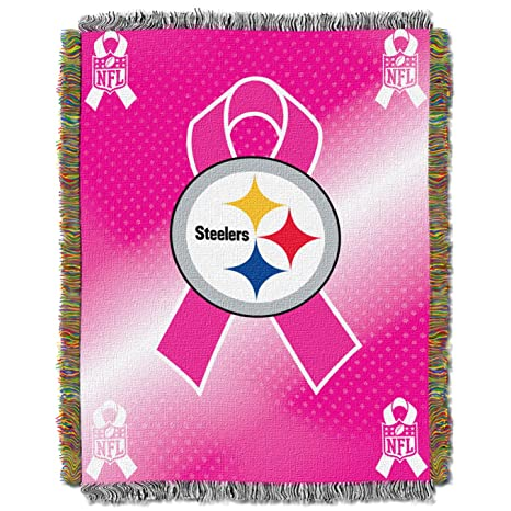 56c6f16c Amazon.com : NFL Pittsburgh Steelers Breast Cancer Awareness Tapestry :  Sports Fan Throw Blankets : Sports & Outdoors