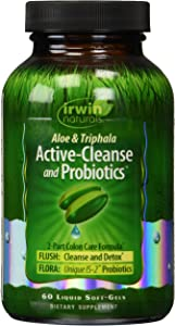 Aloe and Triphala Active-Cleanse and Probiotics by Irwin Naturals, 2-Part Colon Care Formula Detox, 60 Liquid Soft-Gels