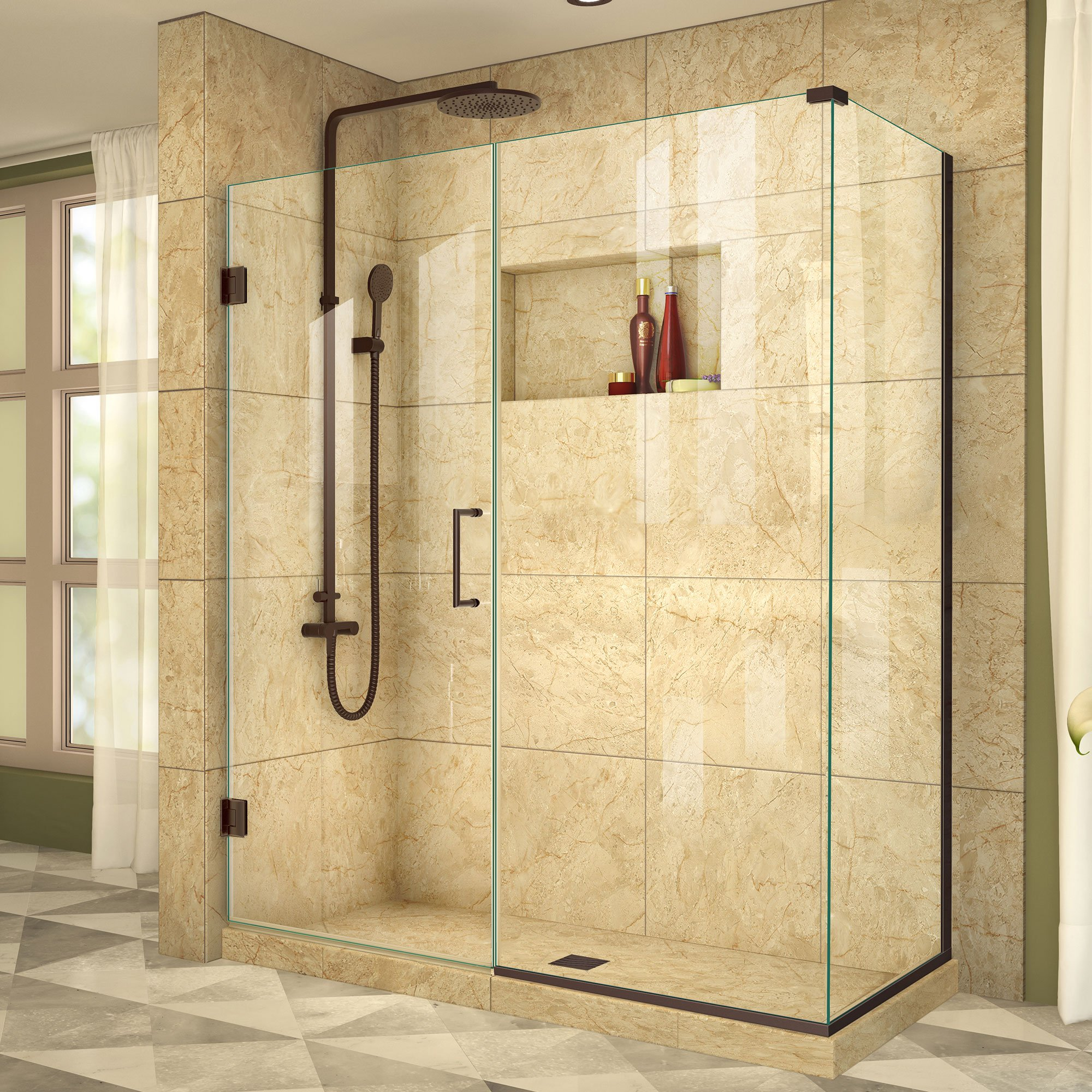 DreamLine Unidoor Plus 34 3/8 in. D x 60 in. W, Frameless Hinged Shower Enclosure, 3/8'' Glass, Oil Rubbed Bronze Finish by DreamLine
