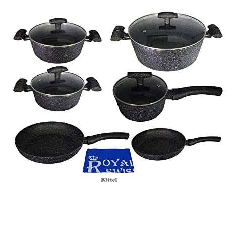 ROYAL SWISS Juego de cazuelas, 11 piezas | – Juego de olla olla – Cazo