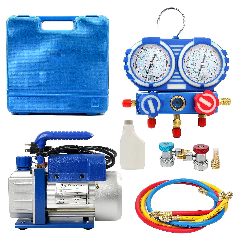 YaeTek Combo 3, 5CFM 1/4HP Air Vacuum Pump HVAC + R134A Kit AC A/C Manifold Gauge Set (Includes Gauge Absolutely!!!) Yaemart Corportation