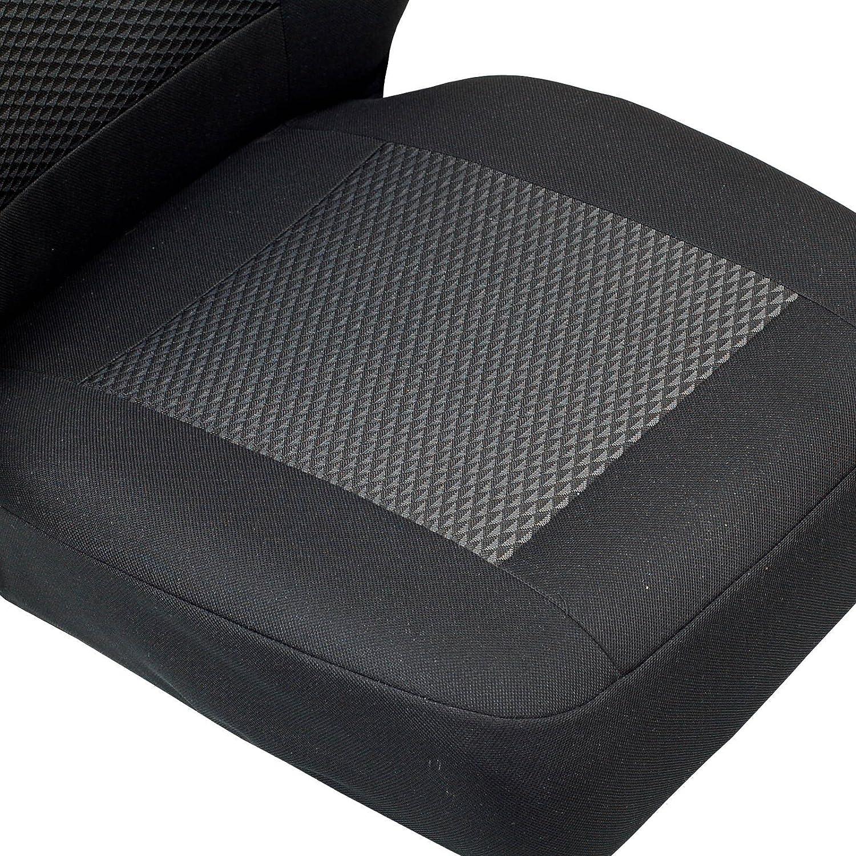 Zakschneider Housses De Si/ège pour Citroen Jumper Housse Avant Si/ège du Conducteur Couleur Premium Noir avec des Triangles Gris