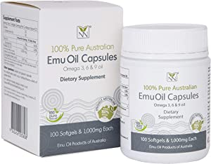 Emu Oil Capsules - (100) 1,000mg Supplement Caps - Contains Omega 3 6 9 Oils and Naturally Occuring CLA.