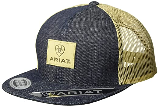 41e3f779 ARIAT Men's Denim Leather Patch Mesh Back Cap, Blue One Size at ...