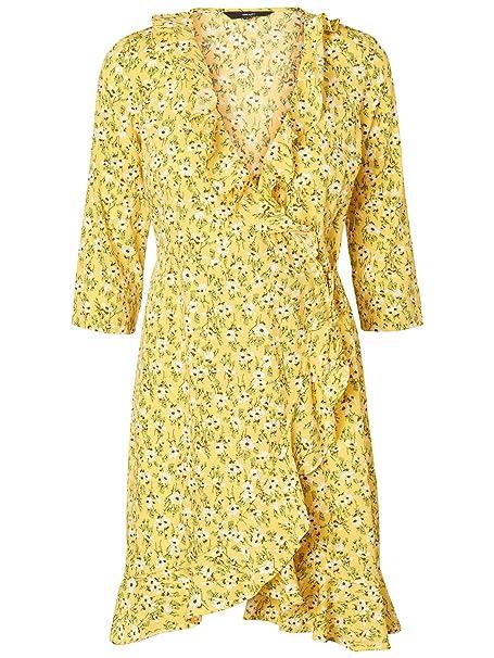 Vestido de flores con volantes VMMOLLY POLY de Vero Moda (S - Amarillo)