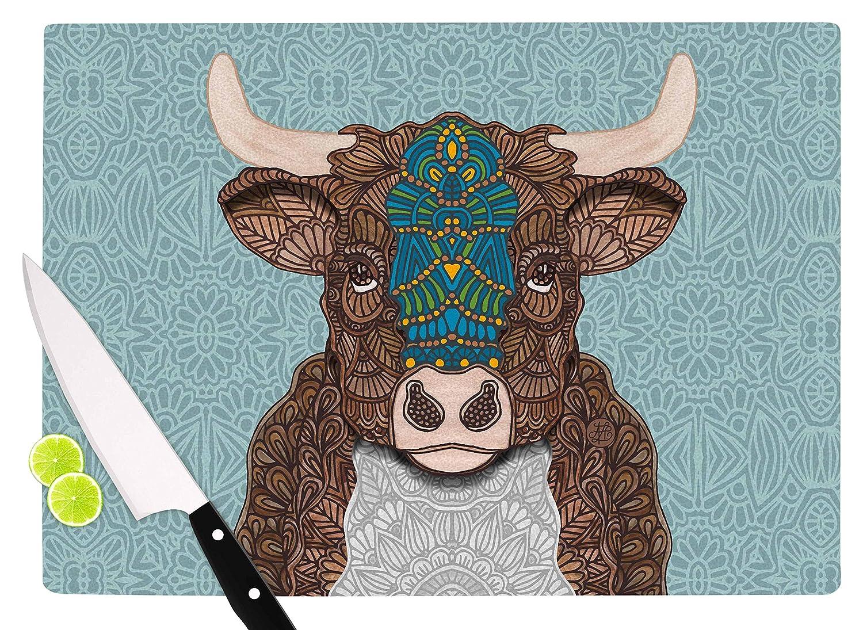KESS InHouse Art Love PassionBennie-The Bull Teal Brown Cutting Board Multicolor 11.5 x 15.75
