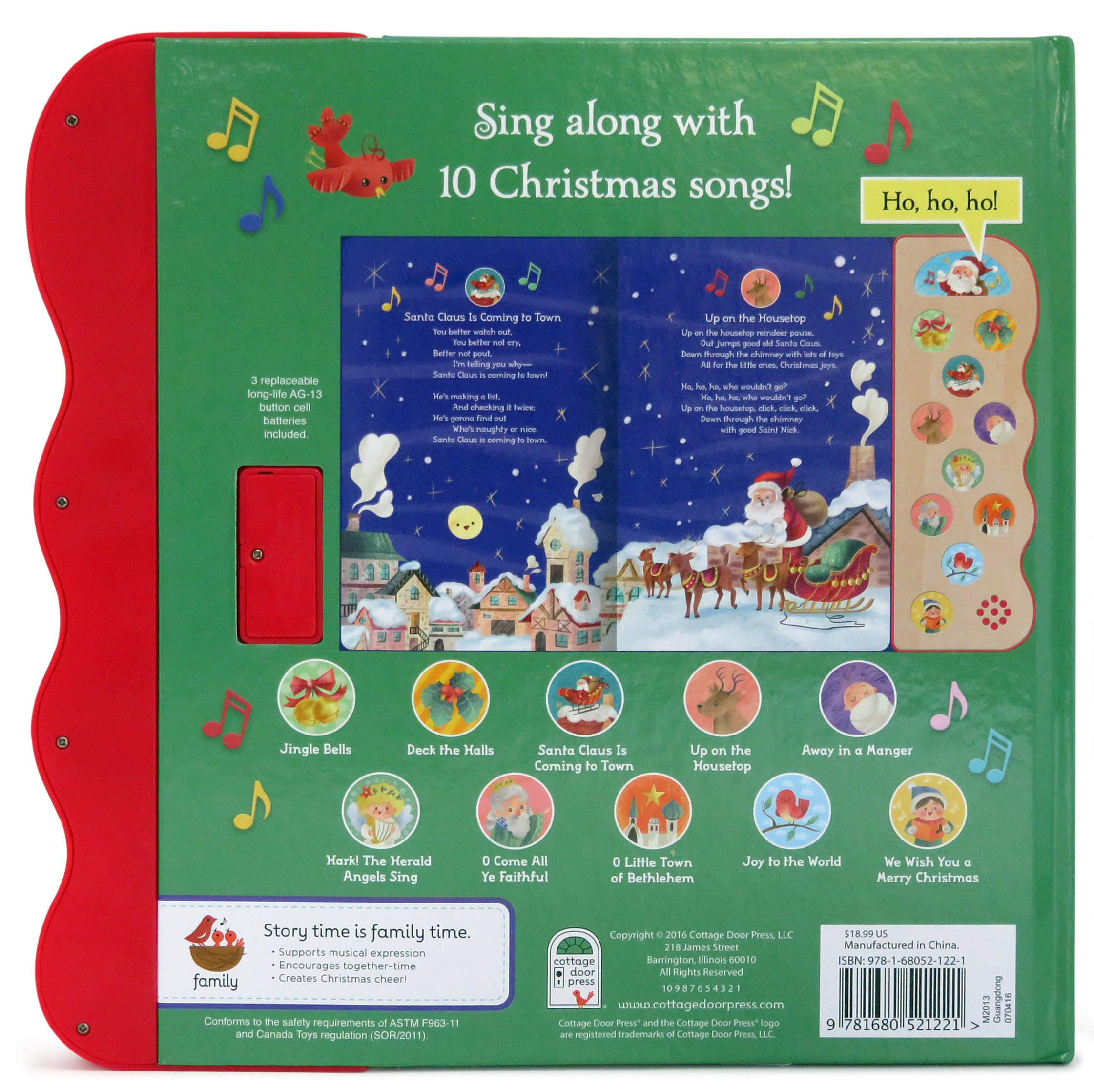 amazoncom christmas songs interactive childrens sound book 10 button sound 9781680521221 holly berry byrd cottage door press katya longhi books