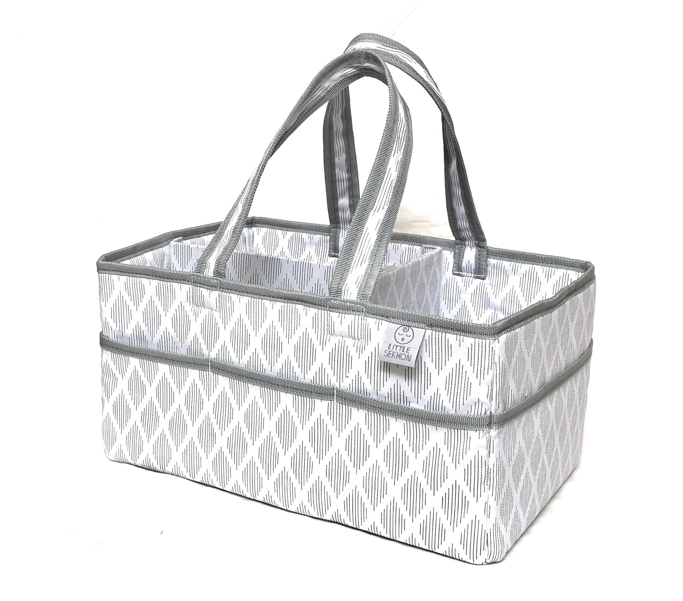 Large Baby Diaper Caddy Organizer-Nursery Storage Bin for Changing Table-Portable and Travel Friendly- 100% Cotton Canvas-Perfect Unisex Baby Shower Gift by Little Sekhon