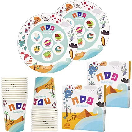 "The Dreidel Company Passover Ten Plagues Paper Goods Seder Plate Set Design Party Set - 9"" Plates, Cups, and Napkins, 36 Piece Set, Serves 12 People"