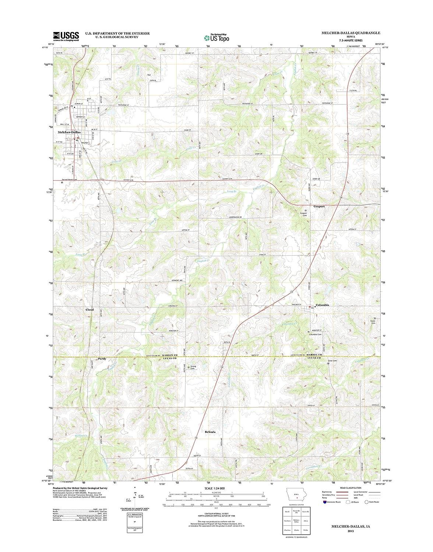 Amazon Com Topographic Map Poster Melcher Dallas Ia Tnm Geopdf
