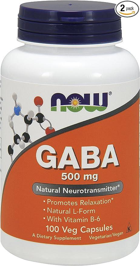 NOW Gaba 500mg, 100 Capsules (Pack of 2)