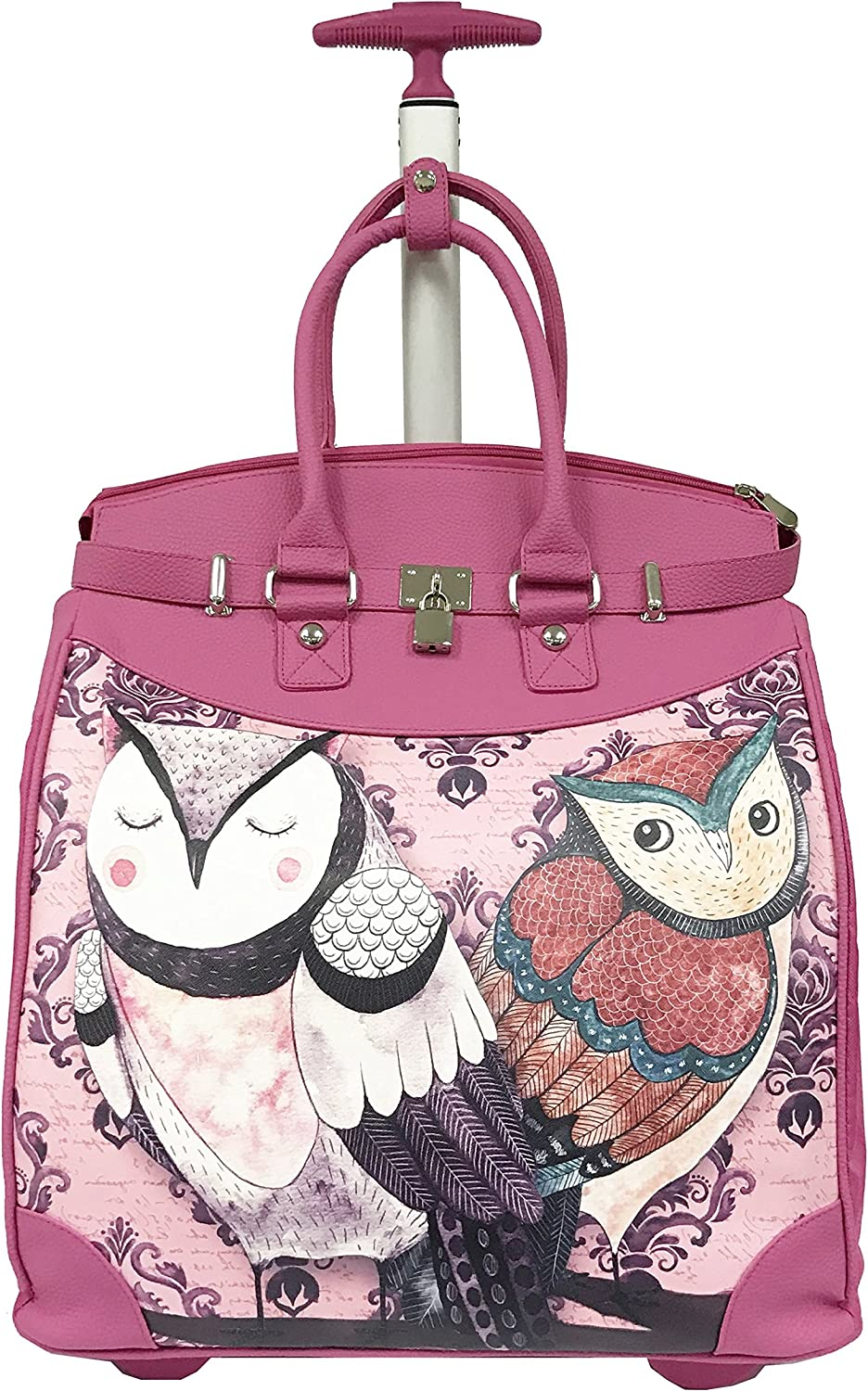 Graphic Adorable Animal Lovers Patterned Pink Size 14 Fashionable Beige Lovely Forest Couple Owls Design Carry On Rolling Foldable Laptop Tote Multi Compartment Checkpoint Friendly Travel Bag