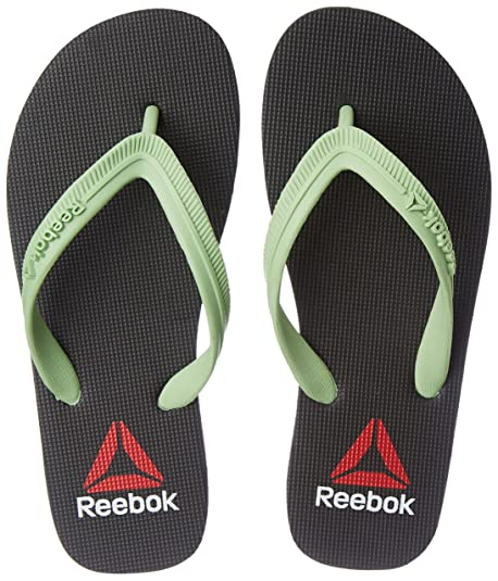 a3913c22c0a7 Reebok Women s Avenger Flip Black and Sea Foam Green Flip-Flops and House  Slippers -