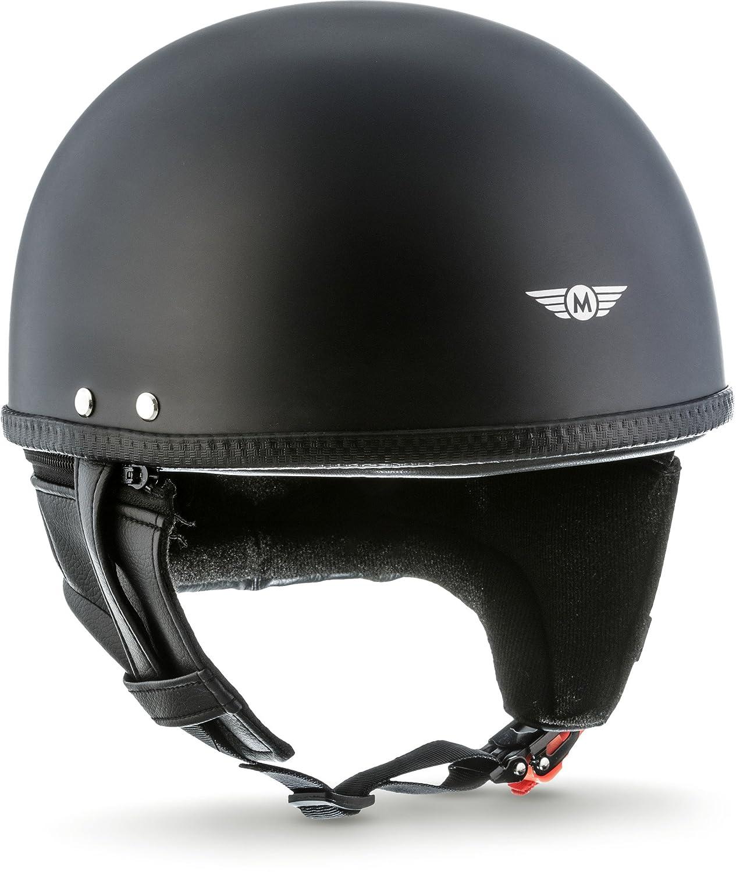 MOTO  · D22 'Matt Black' (Schwarz)  · Jet-Helm Halbschalen-Helm  · Retro Motorrad-Helm Roller Mofa Chopper Scooter-Helm  · Fiberglass Braincap Bobber  · Extra small Shell  · Click-n-SecureTM Clip  · Tragetas