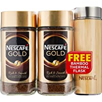 Nescafe Gold 200g Twin Pack with Free Bamboo Thermal Flask,  400 g